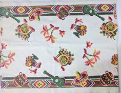 "Vintage Linen Table Runner Mexican Fiesta Donkey Flower Cart Sombreros 16""X41.5"""