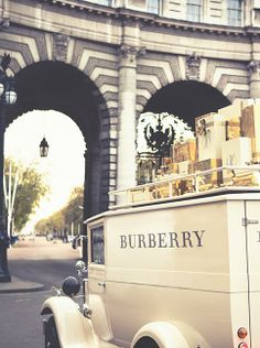 The Burberry festive van passing through London delivering gifts