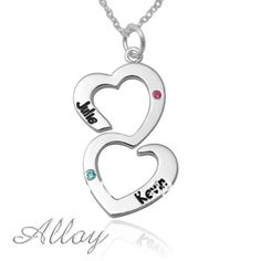 Double heart alloy name necklace,birthstone drop pendent,gift for lover, sister necklace $9.99