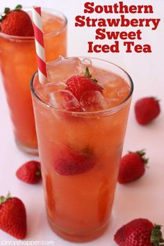 Southern Strawberry Sweet Iced Tea and other strawberry recipes at www.idyllicpursuit.com