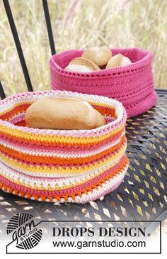 "Crochet DROPS bread basket in ""Paris"". ~ DROPS Design"