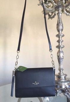 b139af408b64 Kate Spade Crossbody Purse Black Royal Place Zari Handbag Chain Dust Bag NEW   KateSpade