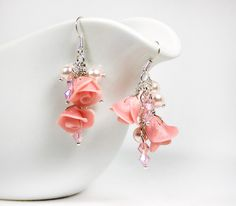 Pink cluster earrings with Pearl rose, glass pearls and Swarovski, Polymer clay Israel jewelry
