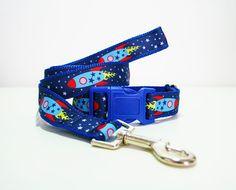"Rocket Spaceship Dog Collar or Matching Lead Leash Seat Belt 3/4"" or 1"" width"