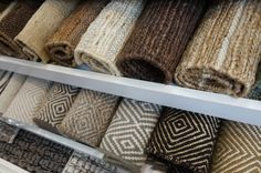 Hemphill's Rugs & Carpets offers the widest selection of natural fiber rugs (jute, sisal, abbaca, seagrass) and wool flat weave rugs in Orange County, CA. The items shown in this photo come in both standard and custom sizes. #wool #jute #sisal #flatweave