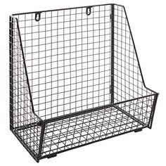 Modern Black Metal Wire Wall Mounted Hanging Towel Basket / Freestanding Magazine / File Organizer Rack, http://smile.amazon.com/dp/B00TGIXLRQ/ref=cm_sw_r_pi_awdm_whN7vb0BVMT3B
