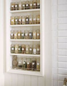 Spice rack, recessed into wall.