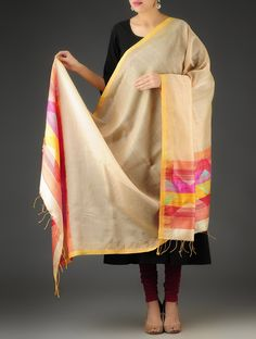 Light Brown-Multi-Color Handwoven Jamdani Silk-Cotton Dupatta