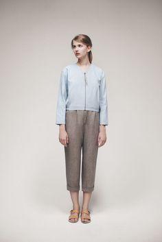 Cropped jacket Zipper fastening Wax coating 65% Linen, …