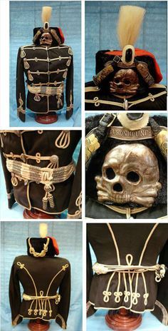 Prussian Hussar unifrom, 1st and 2nd Leib (Life) Regiments, including shako, tunic and barrel sash.