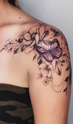 Butterfly Tattoos For Women, Cute Tattoos For Women, Shoulder Tattoos For Women, Butterfly Tattoo Designs, Sleeve Tattoos For Women, Tattoo Designs For Women, Butterfly On Flower Tattoo, Butterfly Shoulder Tattoo, Shoulder Sleeve Tattoos