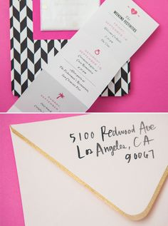 We love the fold up pocket itinerary. Guests can keep this so they have a list of all the events for the weekend. It should include the wedding info, the hashtag, the monogram on the front fold, and each fold should be a different activity. AOK, Labor Dave, Gold Tourney, Pool Party, Wedding, hashtag see you there!