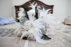 feathered bridal bouquet