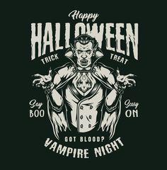 Monochrome Halloween Vampire Illustration from 21 Halloween t-shirt designs by DGIM Studio. 100% vector + editable text. Download Happy Halloween designs on our website. #vampire #halloween #halloweenparty