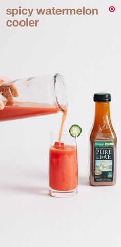 Here's a refreshing summer drink that's sweet and spicy. In a small saucepan, combine jalapenos, sugar and water. Bring to a boil, remove from heat and cover to steep. Strain out jalapeno and cool. In a blender, combine watermelon, lemon juice, iced tea, jalapeno syrup and ice. Blend until smooth. Pour into highballs glasses over ice and garnish each with a jalapeno slice. Serve immediately.