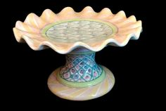 Mackenzie Childs TAYLOR BEARDED IRIS Fluted Cake Stand Pedestal USA 1989 pottery