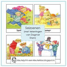 Woordkaarten SEIZOENEN (Dagmar Stam) Teaching Class, Weather Seasons, French Lessons, Preschool Kindergarten, Four Seasons, Classroom Management, Crafts For Kids, Language, Winter