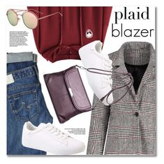 """Plaid blazer"" by gamiss ❤ liked on Polyvore featuring AG Adriano Goldschmied, blazer, plaid and casualoutfit"