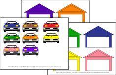 Garage Color Match - This is a color matching activity.  Laminate the two pages with the garages.  Cut out the cars and laminate.  Use velcro so that the student can stick the car in the matching garage.  You could also glue the garage pages to a file folder and then laminate it as one.