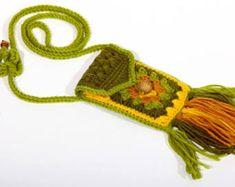 Cell phone purse iPhone 5-7 Small cross-body bag Burning man boho hippie festive accessory Cell phone pouch Mini bag tassels n wood bead