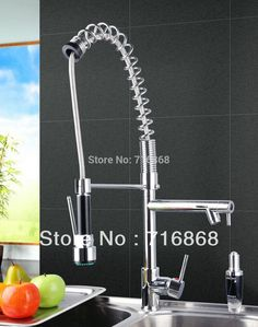 91.58$  Watch here - http://ali2yw.worldwells.pw/go.php?t=1661410971 - DS8525-4 Tall chrome Brass Swivel Pull Down Vessel Sink Mixer Tap Kitchen Faucet 91.58$