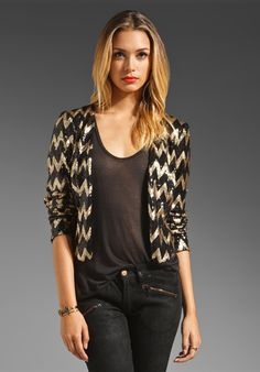 LADAKH For Keeps Zig Zag Sequin Jacket in Black/Gold at Revolve Clothing - Free Shipping!