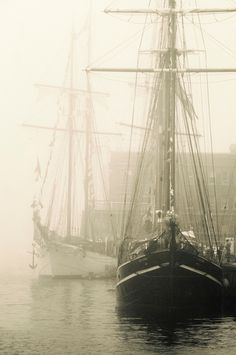 Tall Ships in fog Bateau Pirate, Sea Captain, Sail Away, Ocean Art, Tall Ships, Water Crafts, Sailing Ships, Vintage Photos, Black And White