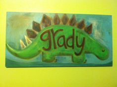 Name dinosaur painting on canvas.