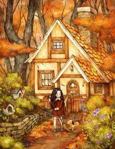 "❥Deja Mallory❥ ""The Diary of a Forest Girl"" by Aeppol. Art And Illustration, Creation Photo, Forest Girl, Me Anime, Girls Characters, Korean Artist, Anime Art Girl, Manga Art, Beautiful Artwork"