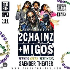 New Orleans LA Tuesday Feb. 9th Mardi Gras Night it's #MardiGrasMadness @saengernola 1111 Canal St. New Orleans LA W/ @hairweavekiller & @MigosAtl Performing Live in Concert Powered by @stankselfmade tickets are available www.TicketMaster.com #SaengerTheatre #2Chainz #Migos #MardiGras #BourbonStreet #FrenchQuarter #NewOrleans #NewOrleansNight #NewOrleansNightLife #NewOrleansPromoter #NewOrleansPromoters #Nola #NolaNight #NolaNights #NolaNightLife #NolaPromoter #NolaPromoters #Tourist…