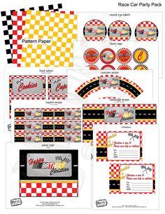 PRINTABLE, D.I.Y.Racecar Birthday Party Package - Digital File - by Metro Events/Metro-Designs. $16.98, via Etsy.