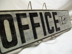 Office wall sign 4 1/4 x 17 distressed by Rt66VintageSigns on Etsy