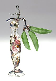 Sweet Pea Bottle: Loy Allen: Art Glass Perfume Bottle - Artful Home