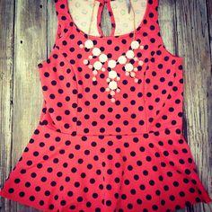 This polka dot peplum top is precious!! $19.95!