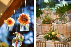 Hanging flower arrangements and gorgeous centerpieces for wedding dinner in Lake Tahoe.  Planning and Design by One Fine Day Events. Photography by Catherine Hall Studios.