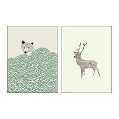TVILLING Poster, set of 2 IKEA Motif created by Kyle Naylor, Dear Prudence. You can personalize your home with artwork that expresses your style. Drawing Painting Images, Natural Bedroom, Deer Print, Ikea Us, Design Your Life, Textiles, Affordable Furniture, Little Monsters, Montage