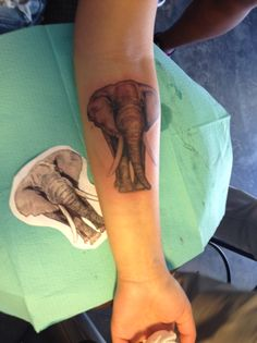 This is my 6th tattoo. I've always had an obsession for elephants. & I decided to take my love for them everywhere I go. I got the trunk slanted just for my mothers sake, because she always told me that when an elephhants trunk is down It's bad luck. Done by Arturo, Oakland CA.