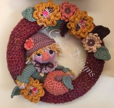 Fall Scarecrow Wreath Crochet Pattern by Teri Crews Instant Download PDF