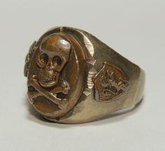 Vintage Mexican Biker Ring Skull Crossbones 40's 50's Sz 11 Motorcycle | eBay