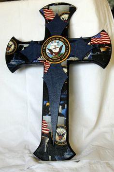Navy Cross by Melody Pelham-Dvorak Mosaic Crosses, Wooden Crosses, Wall Crosses, Wooden Wall Art, Wooden Letters, Military Cross, Navy Cross, Military Decorations, Cross Wreath