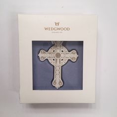 New Wedgwood White Figural Cross Ornament Christmas Tree Decoration Boxed #Wedgewood
