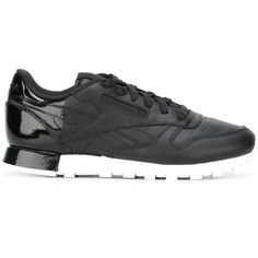Reebok Contrast Ankle Sneakers (140 AUD) ❤ liked on Polyvore featuring shoes, sneakers, black, reebok, black leather shoes, leather trainers, black trainers and black sneakers