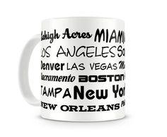 Tasse mit dem Motiv Städtenamen USA. Eine Tasse bedruckt mit dem Motiv…