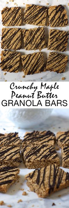 These extra crispy and crunchy maple peanut butter granola bars are gluten-free and made with simple, real food ingredients. The perfect healthy breakfast or snack! @BobsRedMill #BRMOats