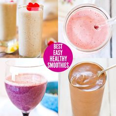 eiweißshake The Best Easy Healthy Smoothies - Fast, easy, and tasty smoothie recipes that'll keep you full, satisfied, and are skinny jeans and bikini-friendly! Yummy Smoothie Recipes, Yummy Smoothies, Apple Smoothies, Raspberry Smoothie, Smoothie Diet, Frozen Fruit Smoothie, Lunch Smoothie, Smoothies Sains, Sumo Natural