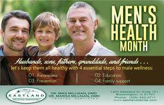 Please join Eastland Dental Center in observance of Men's Health Month through June.. www.eastlanddental.com  #dentistbloomington #MensHealthMonth #wellness