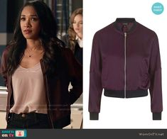 Iris's purple bomber jacket on The Flash.  Outfit Details: https://wornontv.net/62232/ #TheFlash