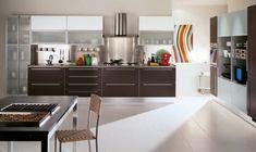 Modern White kitchen colorful accessories