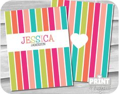 Personalized Erin Condren Delightful Stripes by Stationery List, Printable Planner, Printables, Erin Condren, I Shop, Stripes, Unique Jewelry, Handmade Gifts, Etsy