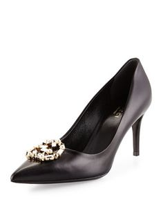 Embellished-GG+Leather+Pump,+Black+by+Gucci+at+Neiman+Marcus.